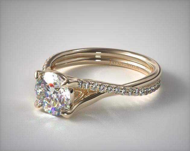 Twisted Pave Shank Contemporary Solitaire Ring 18k