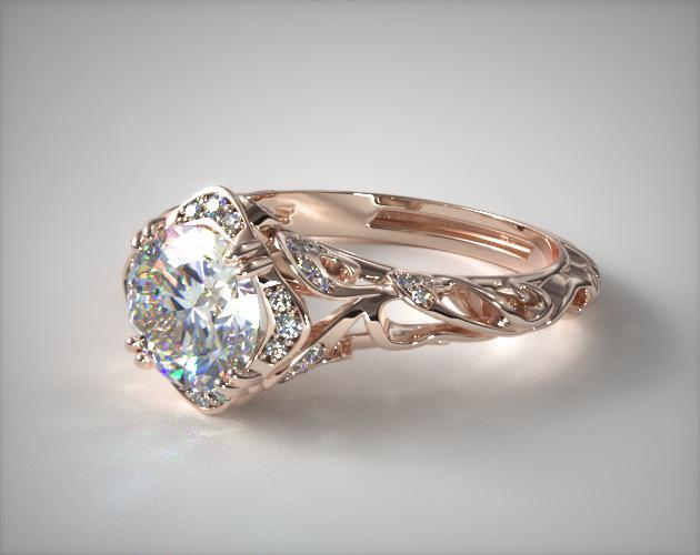 Diamond Filigree Engagement Ring 14k Rose Gold James