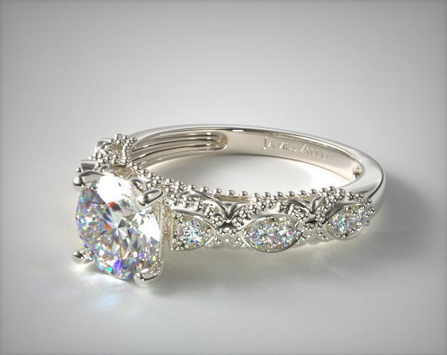 Beaded Open Span Diamond Engagement Ring 14k White Gold