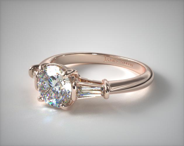 Tapered Baguette Diamond Engagement Ring 14K Rose Gold