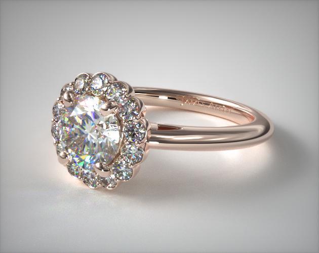 Floral Halo Engagement Ring 14k Rose Gold James Allen