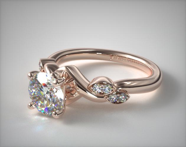 Engagement Rings Side Stones 14k Rose Gold Twisted Vine