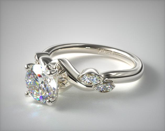 Engagement Rings Side Stones 14k White Gold Twisted Vine