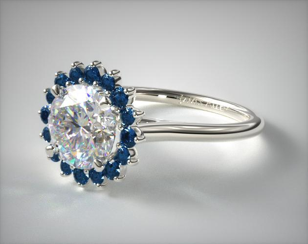 Blue Sapphire Pave Sunburst Engagement Ring 14k White