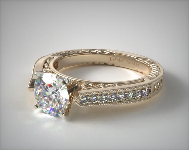 Pave Scroll Diamond Engagement Ring 14k Yellow Gold