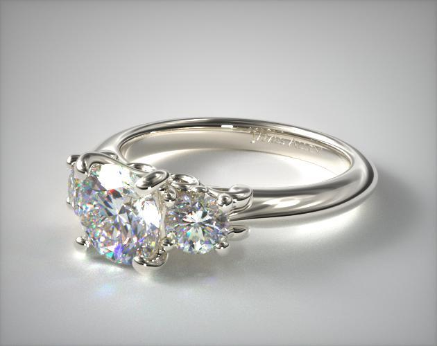17929w14 three stone diamond engagement ring with scroll for Three stone wedding ring set