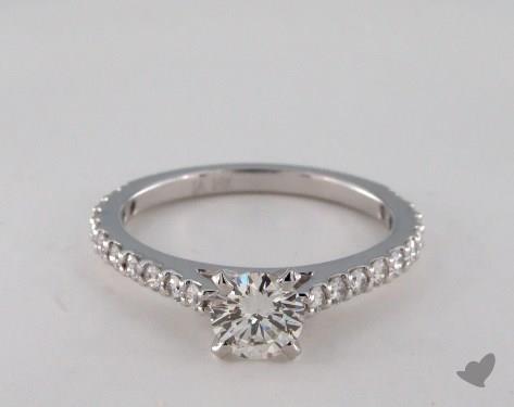 14K White Gold  Side stones Engagement Ring