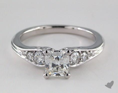 14K White Gold  Side stones Engagement Ring